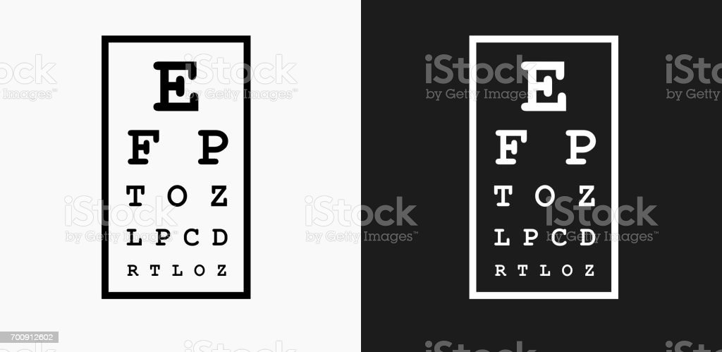 Eye Chart Icon on Black and White Vector Backgrounds vector art illustration