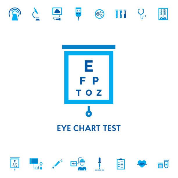 eye chart test vector icon - зрение stock illustrations