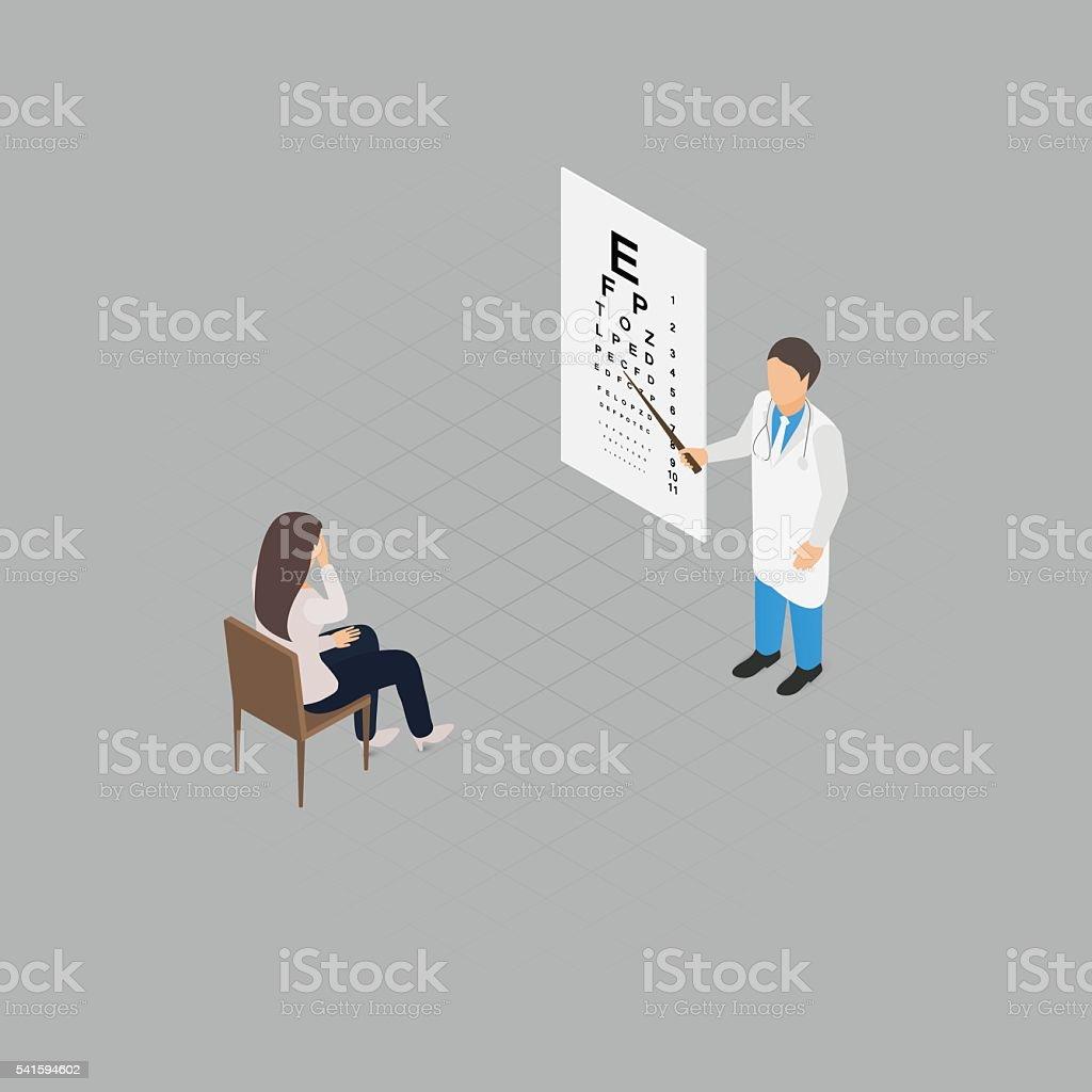 Eye check up vector art illustration
