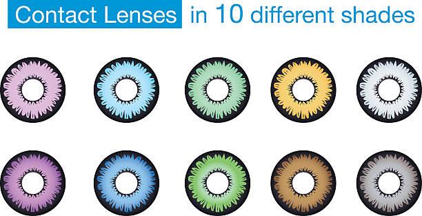ilustraciones, imágenes clip art, dibujos animados e iconos de stock de color de ojos de lentes de contacto - lentes contacto