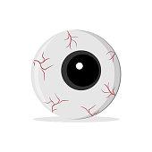 eyeball for Halloween, isolated illustration on white, vector