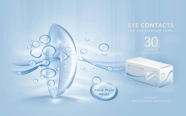 ilustraciones, imágenes clip art, dibujos animados e iconos de stock de eye contacts ads template - lentes contacto