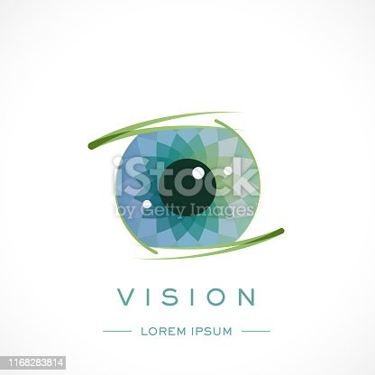 Eye Design Logo Template and Text
