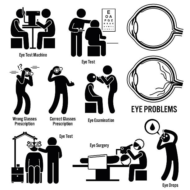ilustraciones, imágenes clip art, dibujos animados e iconos de stock de examen ocular diagnóstico de la cirugía optometrista óptico ilustraciones - optometrista