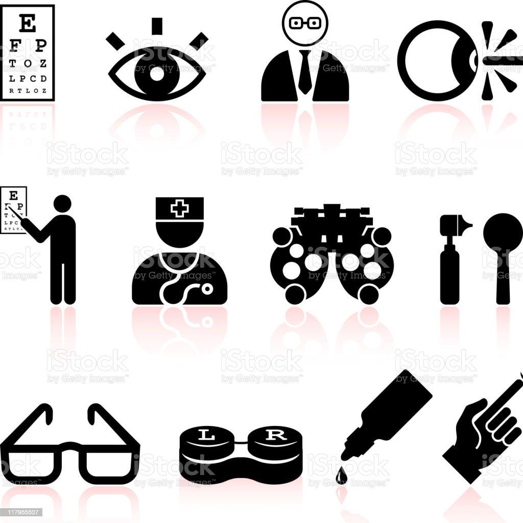 eye exam and optometry black & white vector icon set vector art illustration
