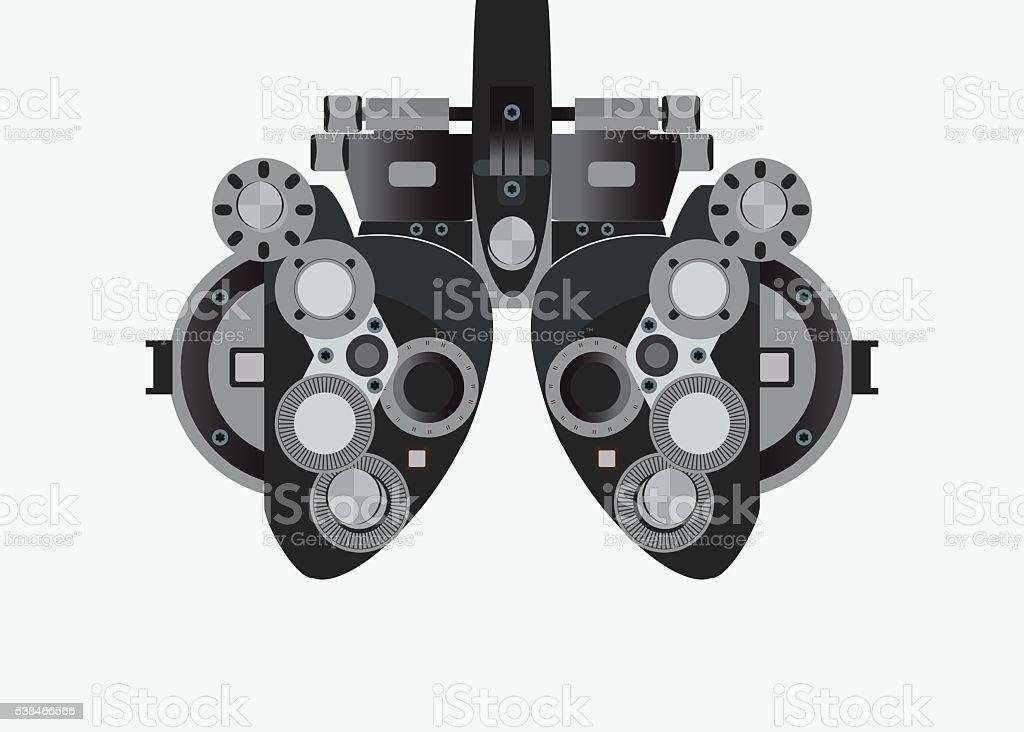 Eye examination isolated on white background. vector art illustration
