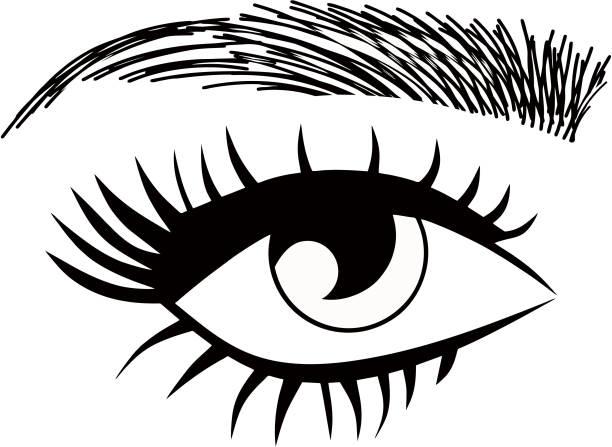Eye eyebrow threading vector art illustration