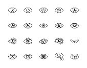 Eye flat line icons set. Tired eyes, vision, eyesight, makeup simple vector illustrations. Outline signs for visibility concept, optometrist clinic. Pixel perfect 64x64. Editable Strokes.