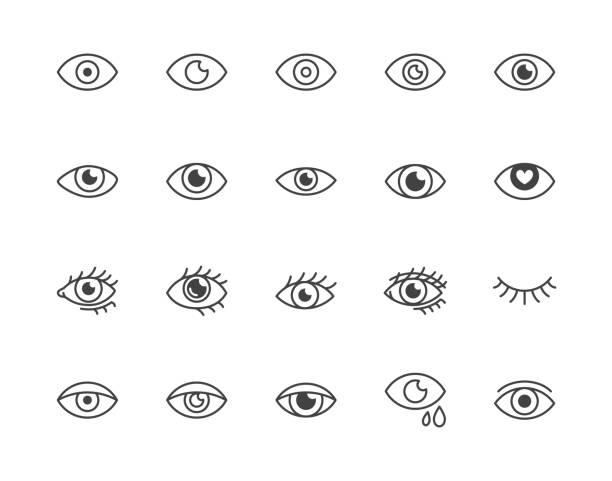 eye flat line icons set. tired eyes, vision, eyesight, makeup simple vector illustrations. outline signs for visibility concept, optometrist clinic. pixel perfect 64x64. editable strokes - глаз stock illustrations