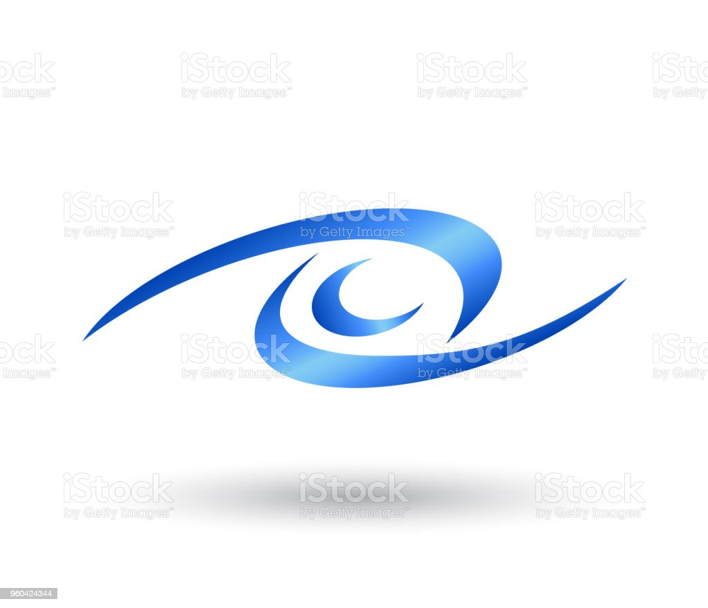 eye from swoosh shape symbol and icon Logo Template vector. vector art illustration