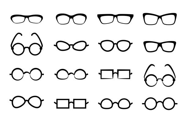 eye glasses icon isolated on white background - okulary stock illustrations
