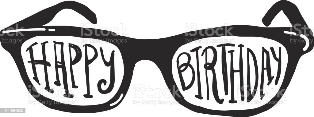 Eye Glasses With Happy Birthday Hand Lettering Design
