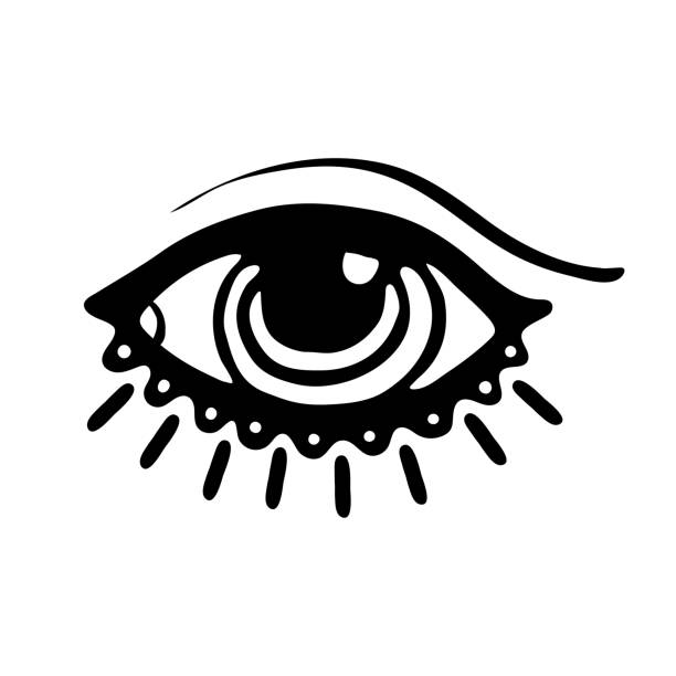 eye icon illustration - третье око stock illustrations