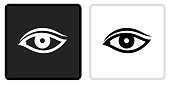 Eye Icon on  Black Button with White Rollover. This vector icon has two  variations. The first one on the left is dark gray with a black border and the second button on the right is white with a light gray border. The buttons are identical in size and will work perfectly as a roll-over combination.