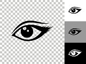 Eye Icon on Checkerboard Transparent Background. This 100% royalty free vector illustration is featuring the icon on a checkerboard pattern transparent background. There are 3 additional color variations on the right..