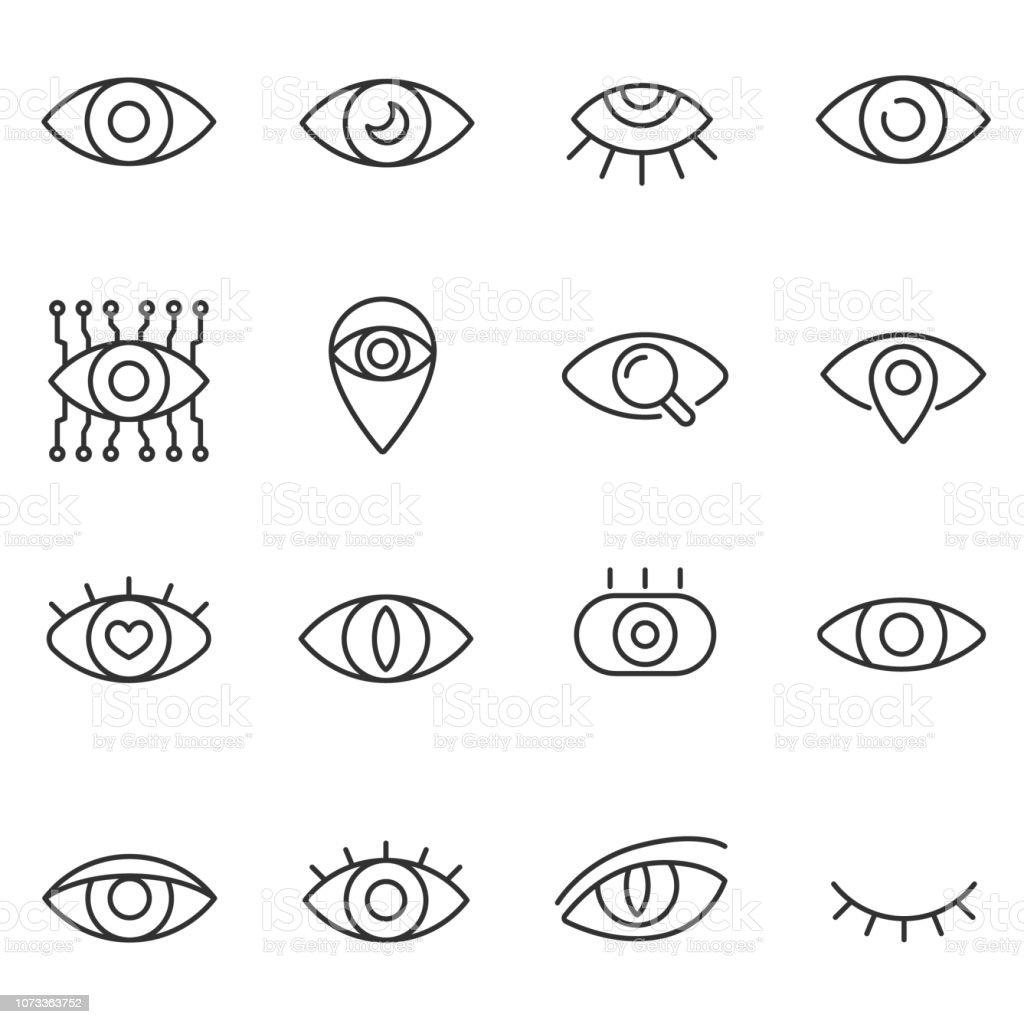 Eye icon set. Line with editable stroke