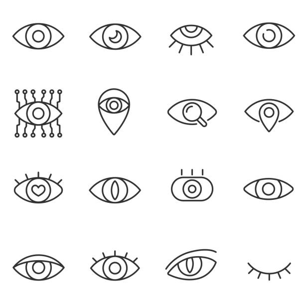 eye icon set. line with editable stroke - глаз stock illustrations