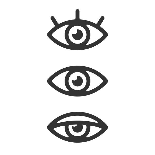eye icon set vektor-design auf weißem hintergrund. - auge stock-grafiken, -clipart, -cartoons und -symbole