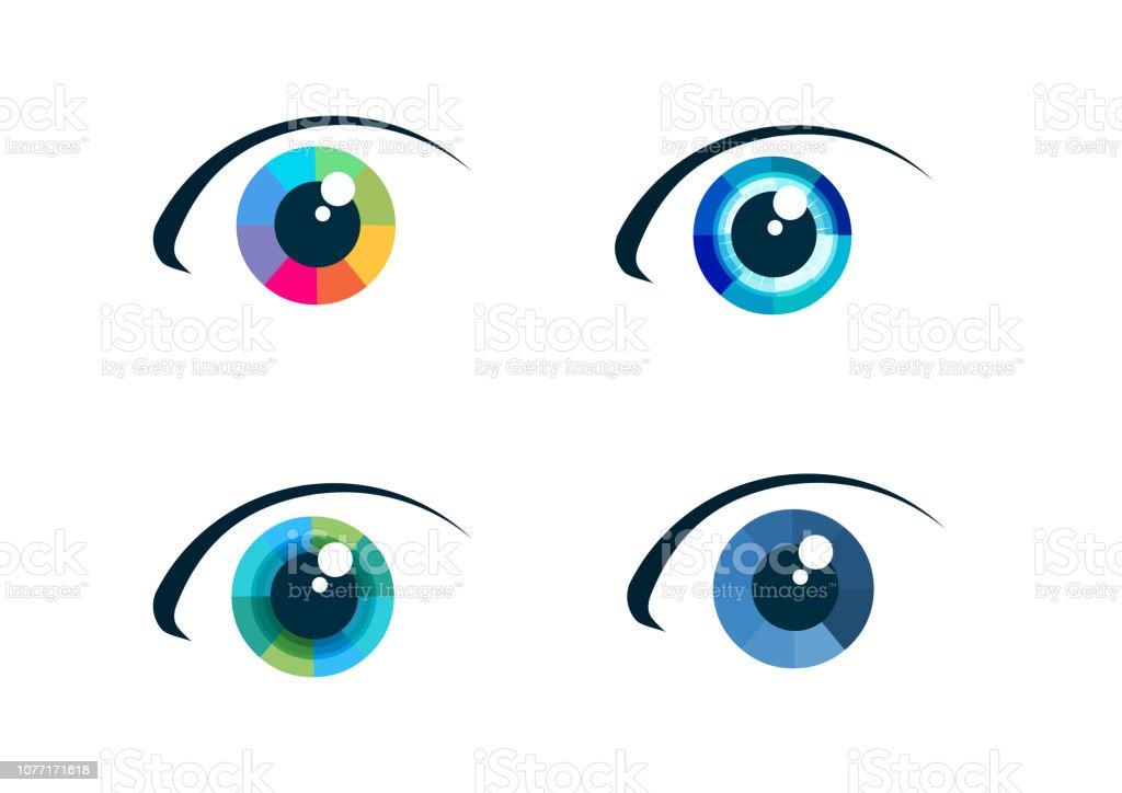 Conjunto de iconos de ojo - arte vectorial de Abstracto libre de derechos