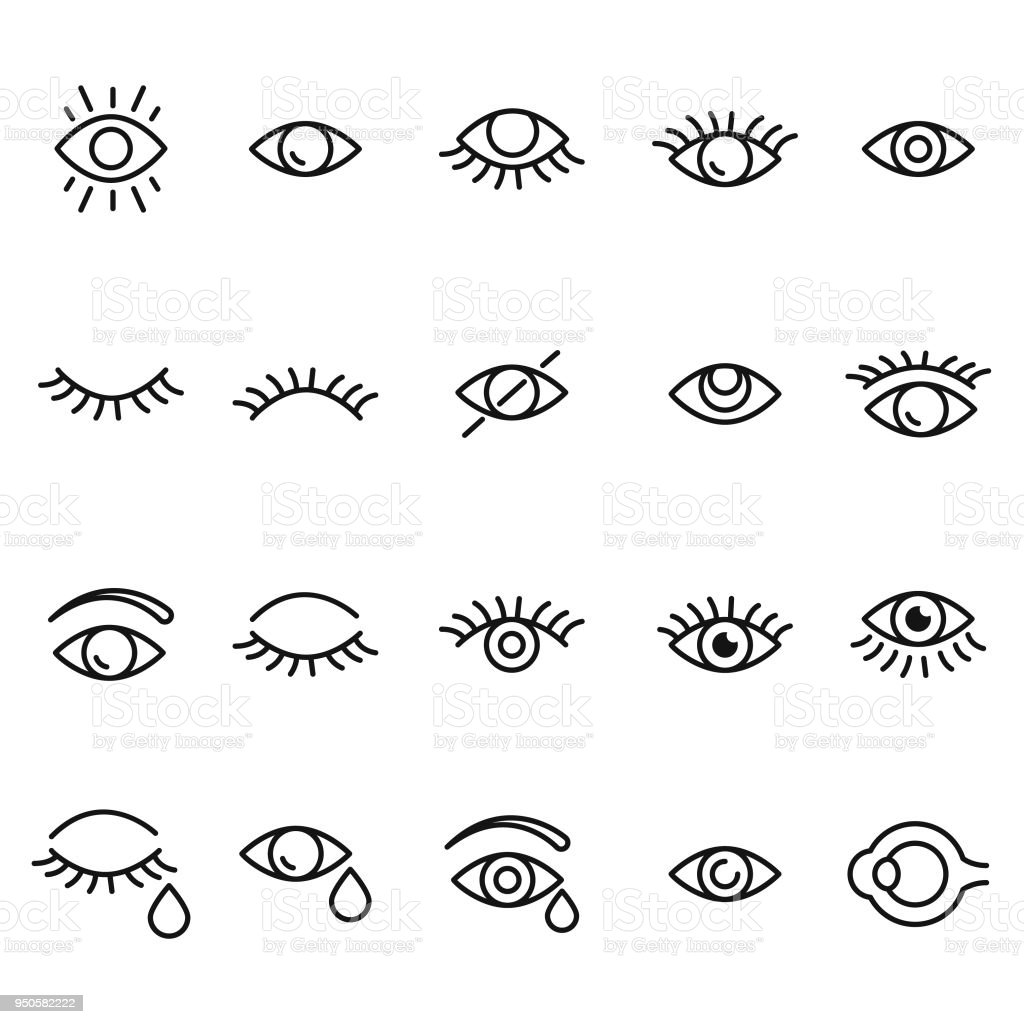 Eye icon set - Векторная графика Абстрактный роялти-фри