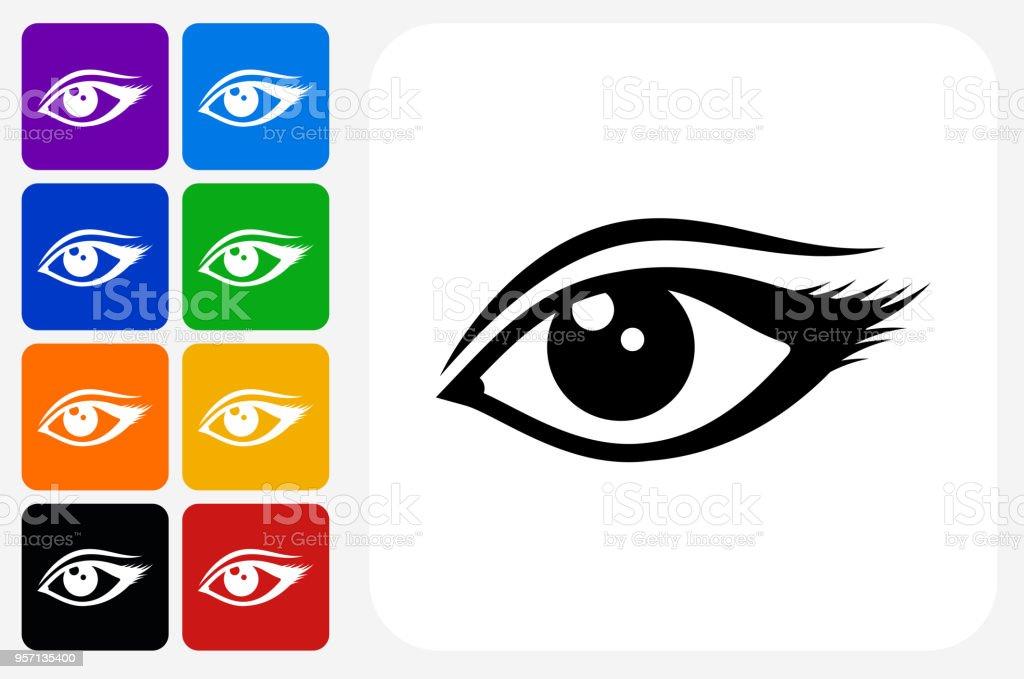 Eye Icon Square Button Set vector art illustration