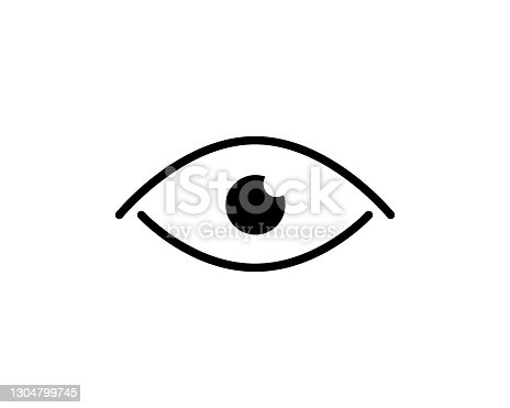 istock Eye icon thin line for web and mobile, modern minimalistic flat design. Vector dark grey icon on light grey background 1304799745