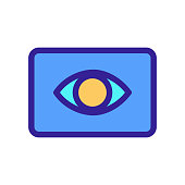 Eye icon vector. A thin line sign. Isolated contour symbol illustration