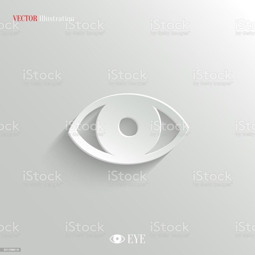 Eye icon - vector white app buttonvectorkunst illustratie