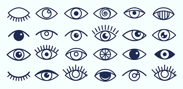 Eye icons. Outline eyelashes and eyes symbols. Ophtalmology signs. Sight, closed and opened organ of vision vector collection