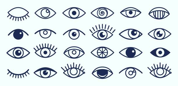 Eye icons collection vector art illustration