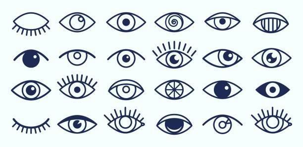 ilustrações de stock, clip art, desenhos animados e ícones de eye icons collection - eye