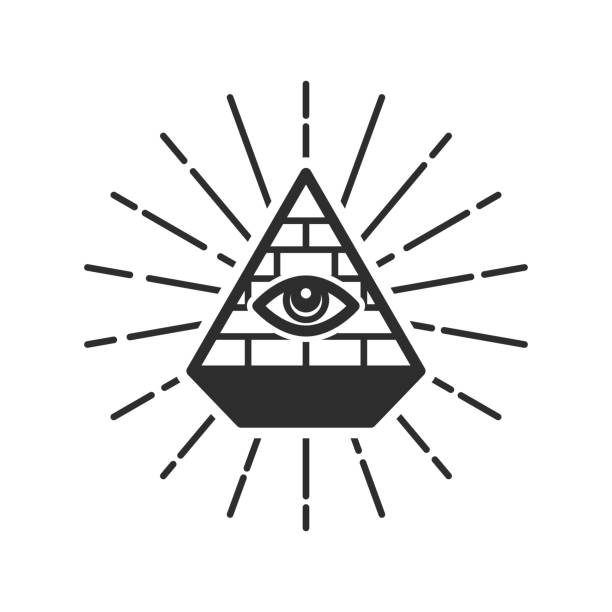 eye in a pyramid, illuminati symbols, masonic sign, all seeing eye - freemasons stock illustrations