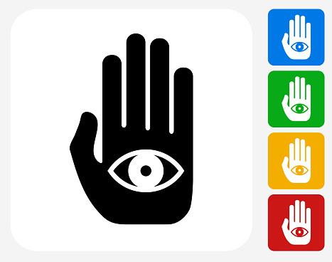 Eye in Hand Icon Flat Graphic Design