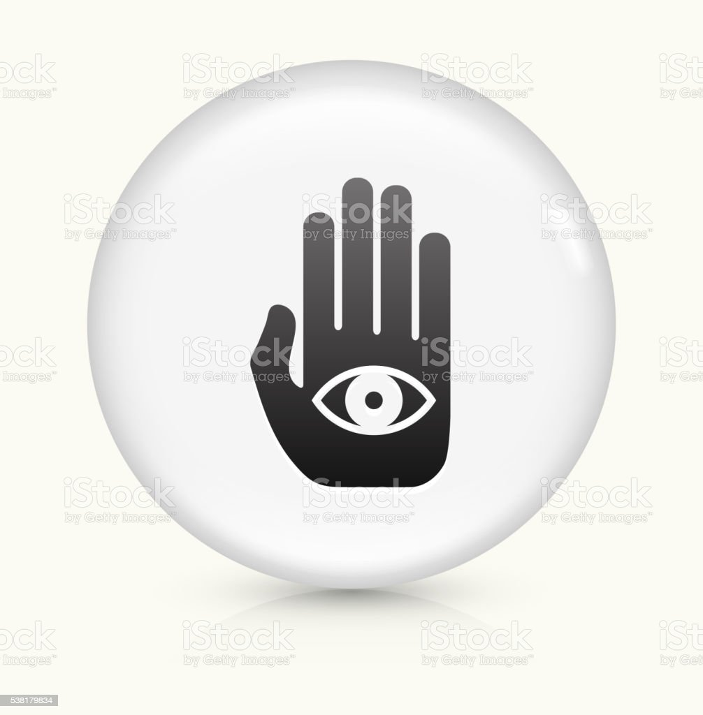 Eye In Hand Icon On White Round Vector Button Stock Vector Art