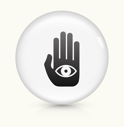 Eye in Hand icon on white round vector button