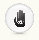 Eye in Hand Icon on simple white round button. This 100% royalty free vector button is circular in shape and the icon is the primary subject of the composition. There is a slight reflection visible at the bottom.