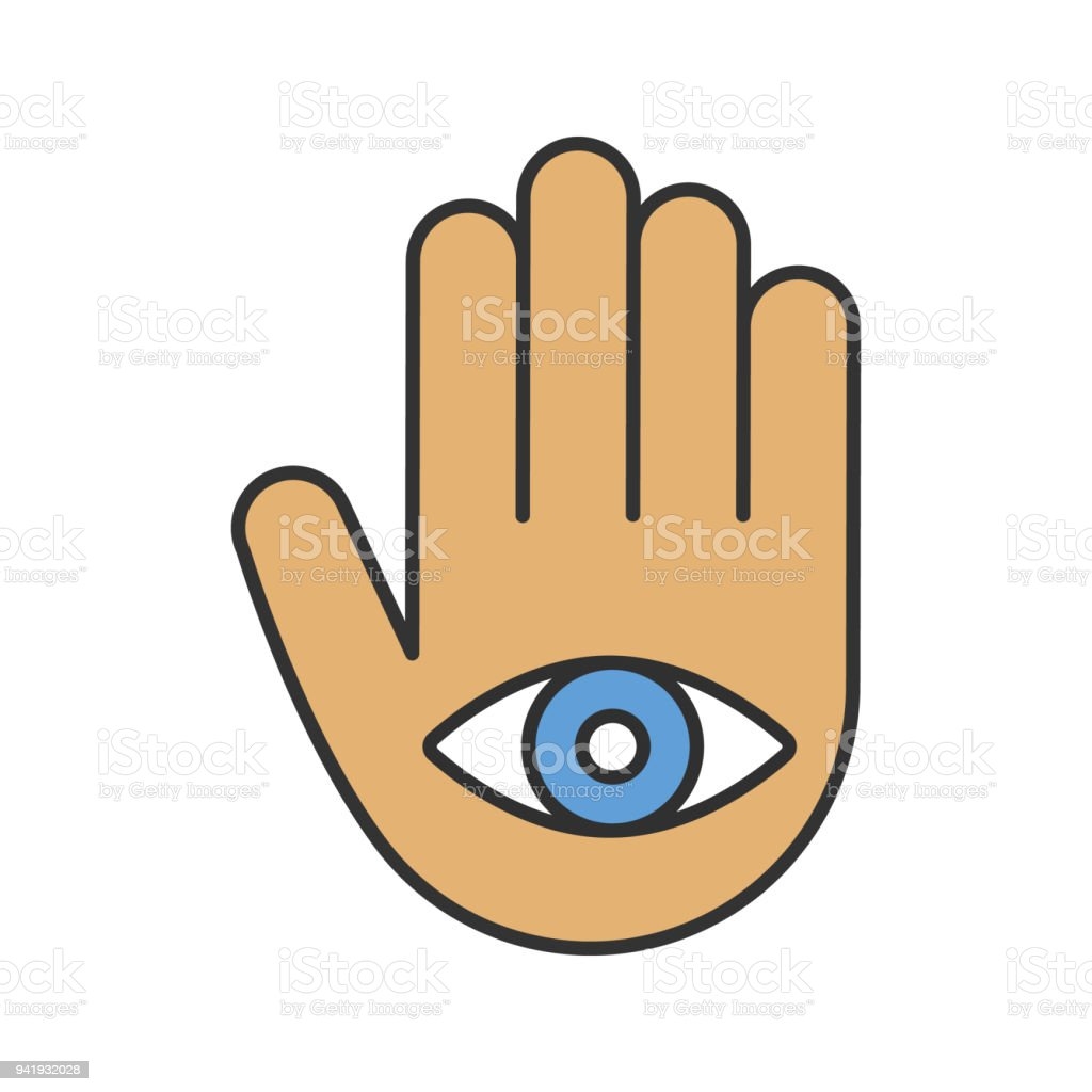 Eye In Hand Icon Stock Vector Art More Images Of Clip Art