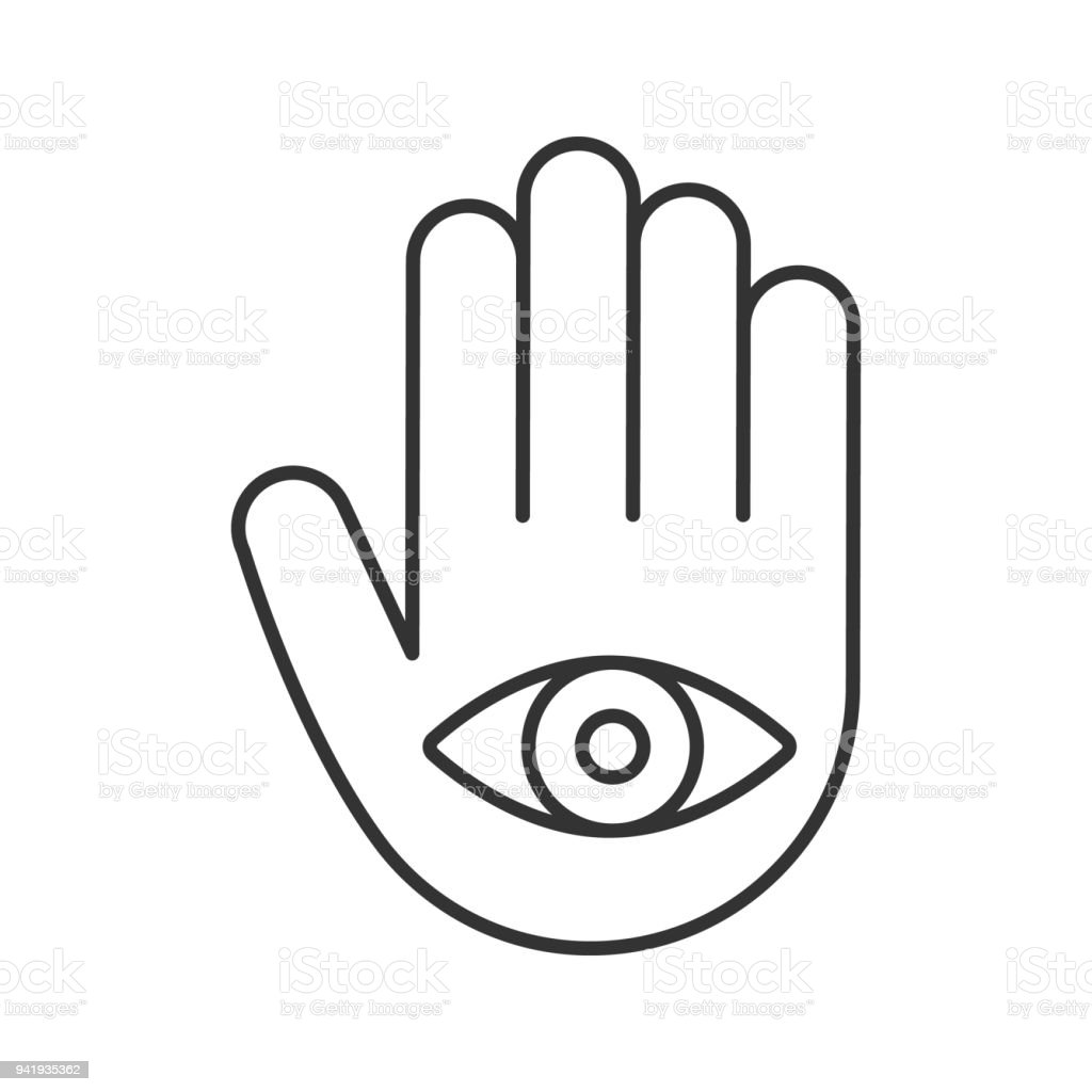 Eye In Hand Linear Icon Stock Vector Art More Images Of Art