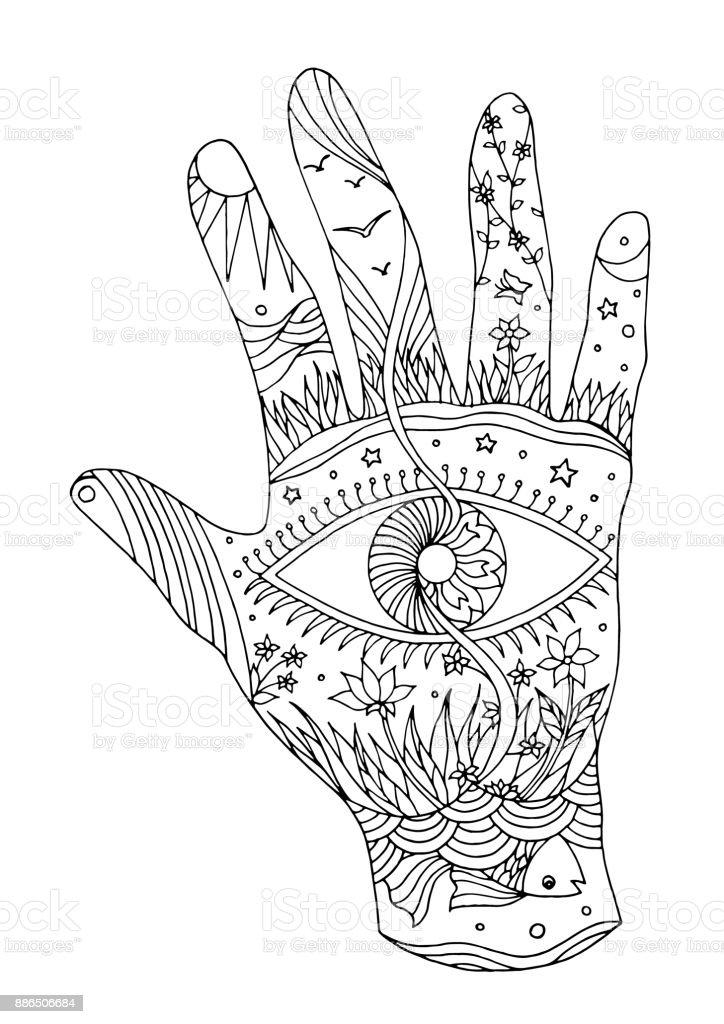 Auge in Hand Symbol Welt, Universum Vektor handgezeichnete Abbildung Design schwarz / weiß – Vektorgrafik