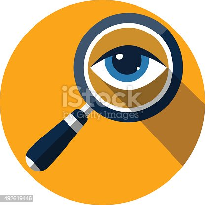 Eye in Magnification .Flat Icon