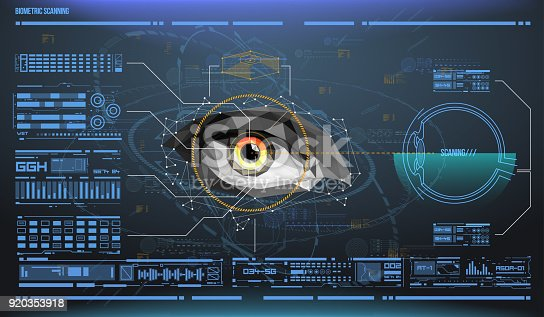 510584002istockphoto eye in process of scanning. Biometric scan with futuristic HUD interface. Control and security in the accesses. Surveillance system, immersive technology 920353918