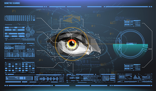 510584002 istock photo eye in process of scanning. Biometric scan with futuristic HUD interface. Control and security in the accesses. Surveillance system, immersive technology 920353918