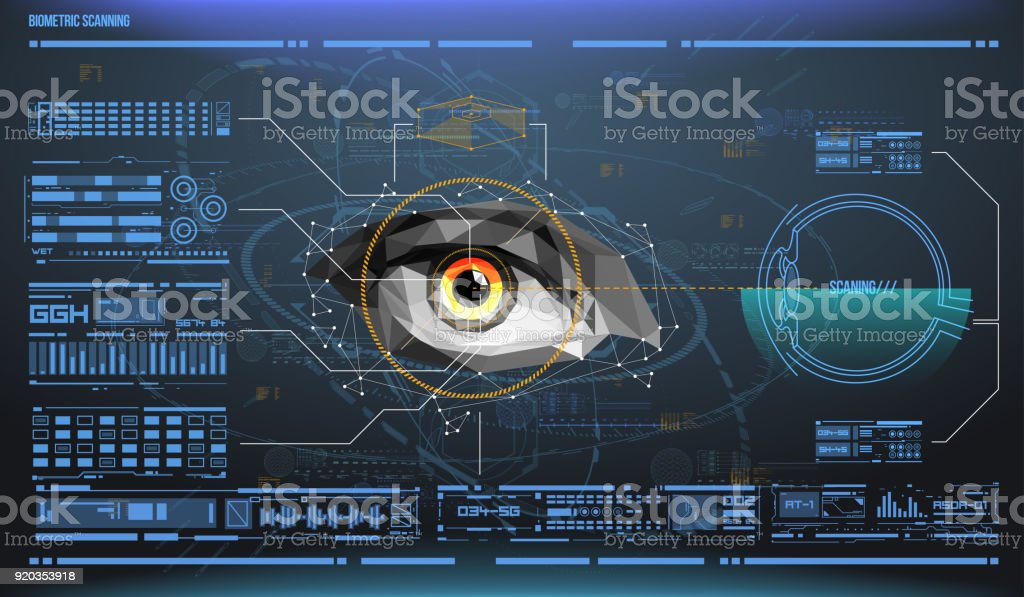 eye in process of scanning. Biometric scan with futuristic HUD interface. Control and security in the accesses. Surveillance system, immersive technology vector art illustration