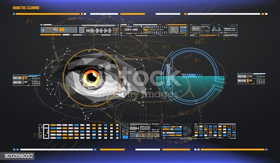 510584002istockphoto eye in process of scanning. Biometric scan with futuristic HUD interface. Control and security in the accesses. Surveillance system, immersive technology 920356032