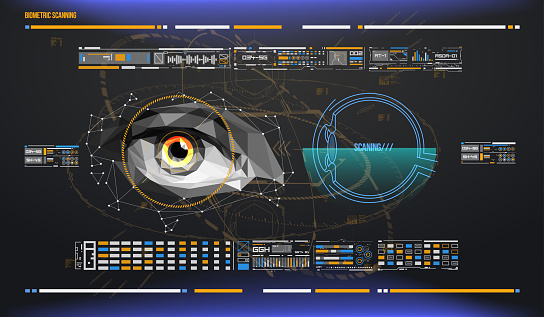 510584002 istock photo eye in process of scanning. Biometric scan with futuristic HUD interface. Control and security in the accesses. Surveillance system, immersive technology 920356032