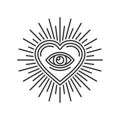 Eye Inside Heart Sign. Masonic Icon on White Background. Vector