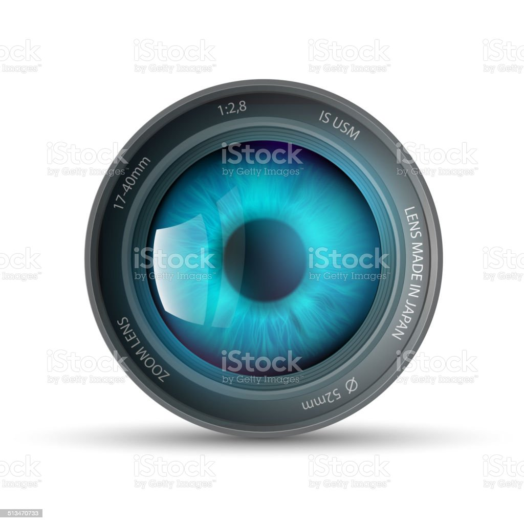 eye inside the camera lens vector art illustration