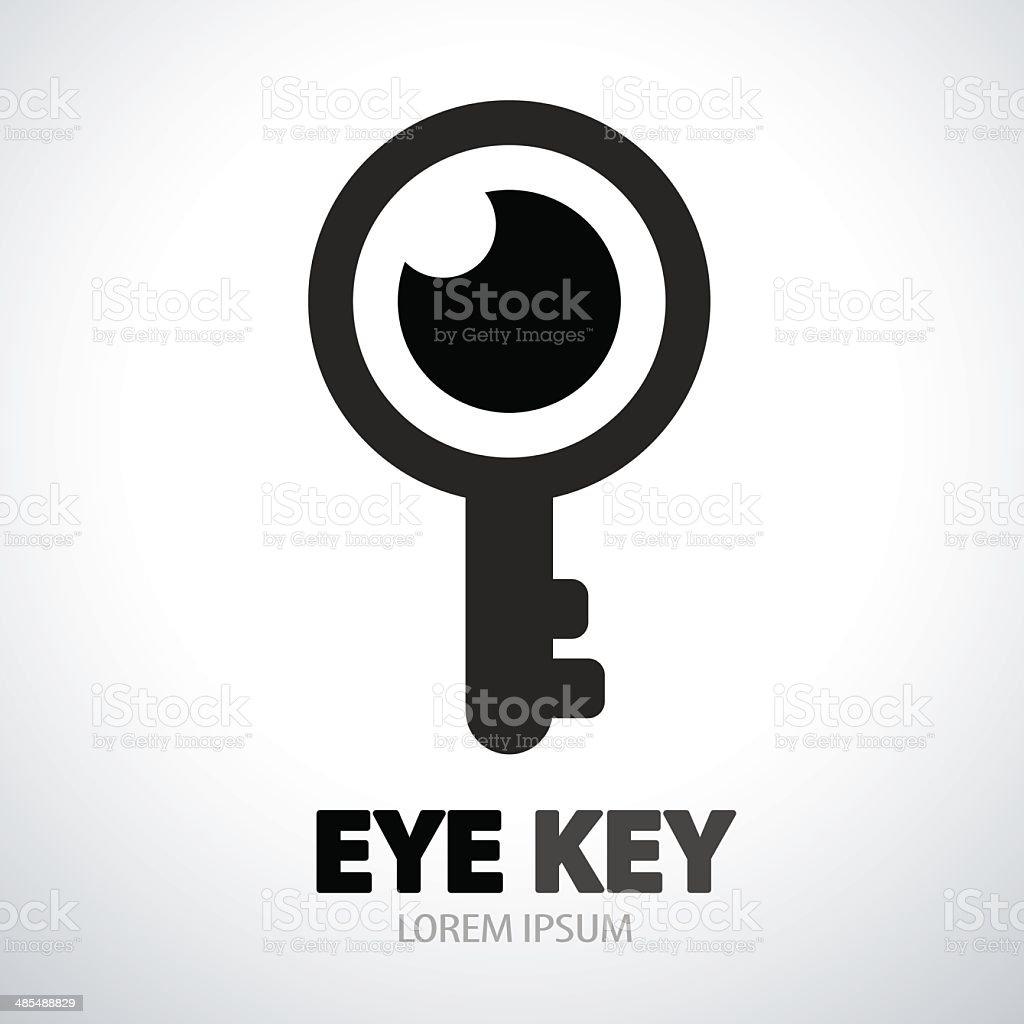 Eye key symbol icon vector art illustration