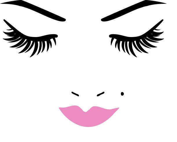 Eye lashes and lips vector art illustration