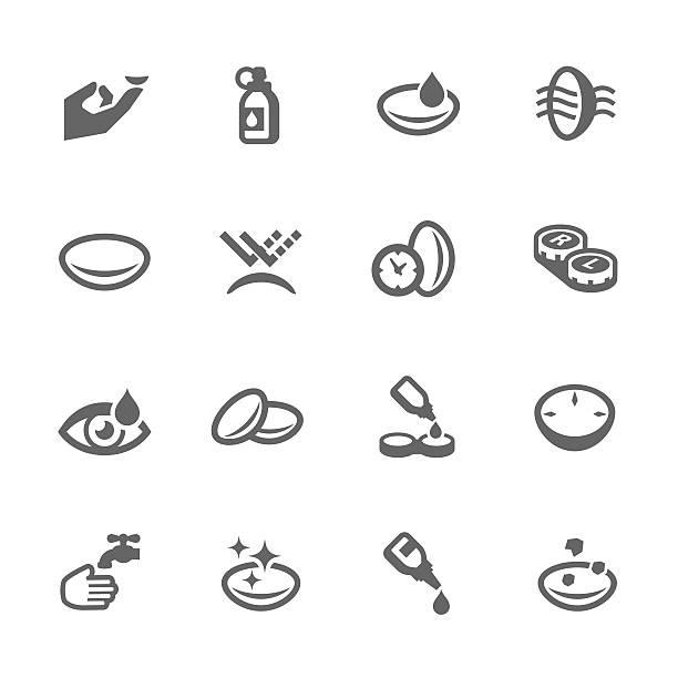 ilustraciones, imágenes clip art, dibujos animados e iconos de stock de lente de ojo de iconos - lentes contacto